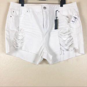 refuge Shorts - Charlotte Russe   White Destructed Denim Shorts